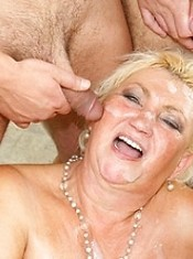 Big mama getting loads of cocks to swallow
