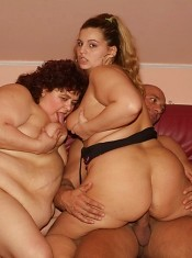 Big booty BBW Victoria and Gaborne double teaming to take on a cock and enjoy riding it on top