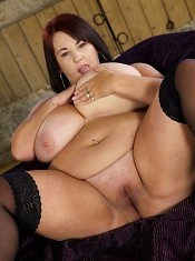 Her huge rack of natural big tits and shaved wet tight pussy made for some great teasing action.