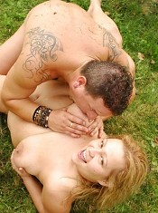 Naughty BBW Helga gives her stud a blowjonb and later got her chubby cooter fucked in the outdoors