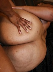 Black BBW Sasha graces us with her hooters and lowers her pussy on our cock to give it a ride